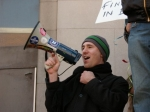 Leading the crowd at a Phelps-A-Thon protest