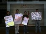 "Protesting Macy's removal of ""gay"" themed window because of complaints from an anti-gay organization."